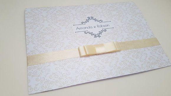 Convite de casamento perolado clássico