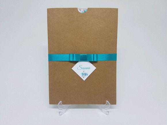 Convite 15 anos envelope luva tiffany
