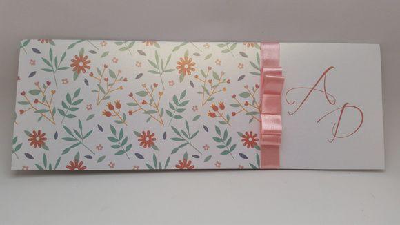 Convite de casamento Floral metalizado