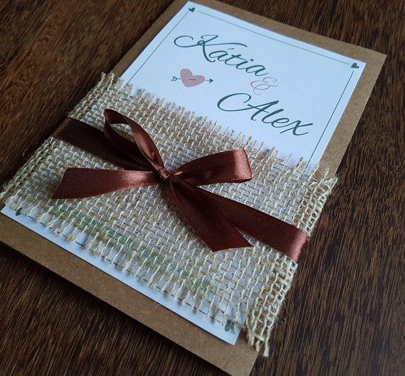 Convite casamento rústico com cetim