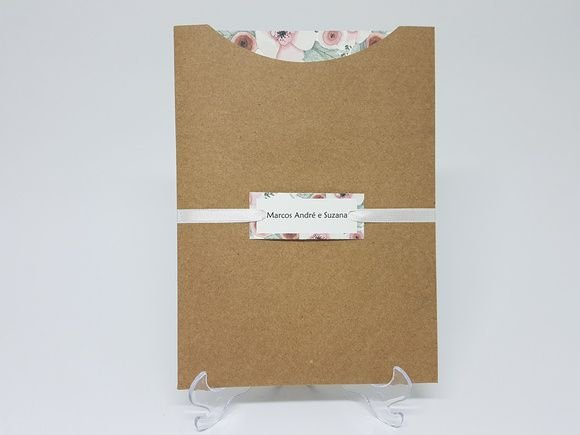 Convite de casamento floral envelope