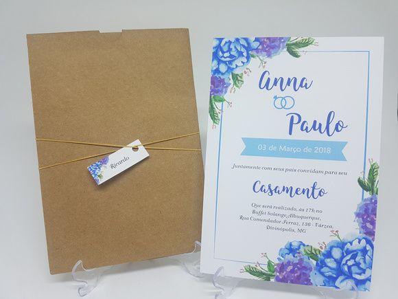 Convite casamento azul tiffany envelope