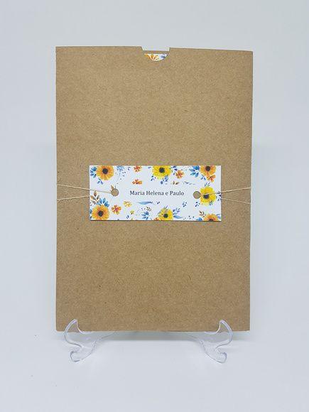 Convite de casamento rustico com flores amarelas
