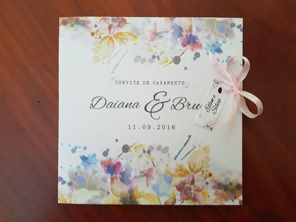 Convite casamento Aquarela cores