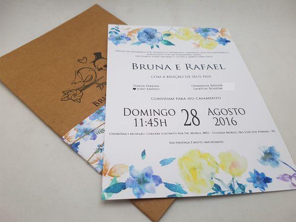 Convite de casamento floral rustico