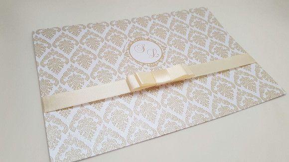 Convite casamento simples clássico palha