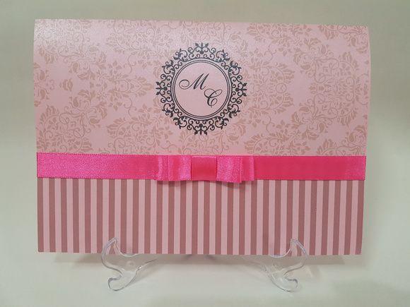 Convite 15 anos rosa perolado metalico