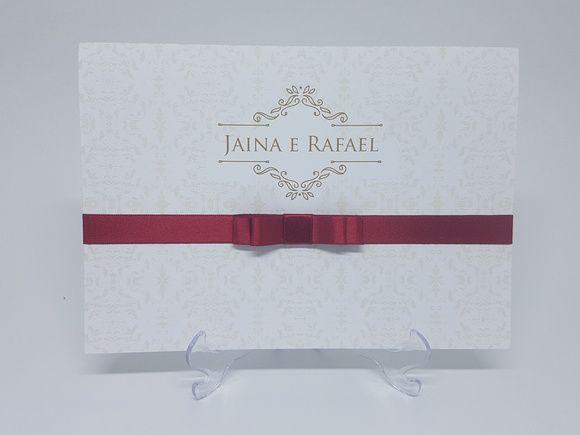 Convite de casamento classico fita vinho