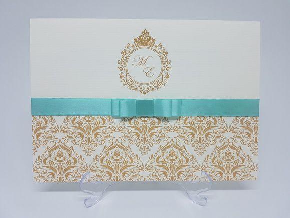 Convite debutante dourado e Verde Tiffany