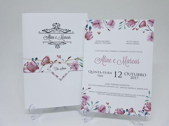Convite com faixa floral