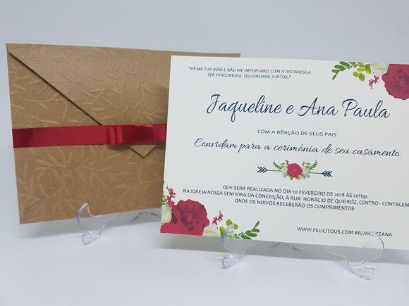 Convite rustico floral vermelho