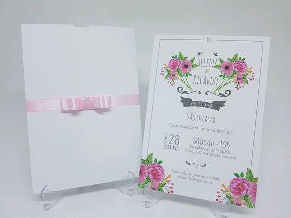 Convite de casamento branco moderno