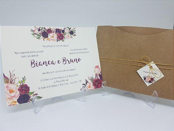 3526efd0e Convite rústico Marsala floral - Atelie da Lola Conviteria ...