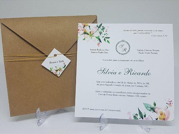 Convite casamento rustico amarelo e verde floral