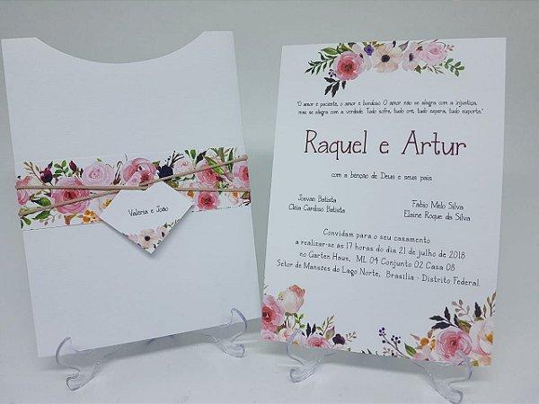 Convite com envelope branco floral