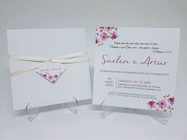 fc302cf35 Convite flores rosas - Atelie da Lola Conviteria - convites ...