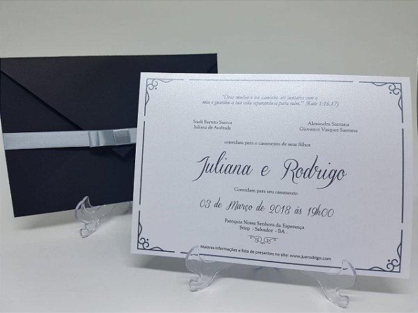 Convite casamento preto e prata