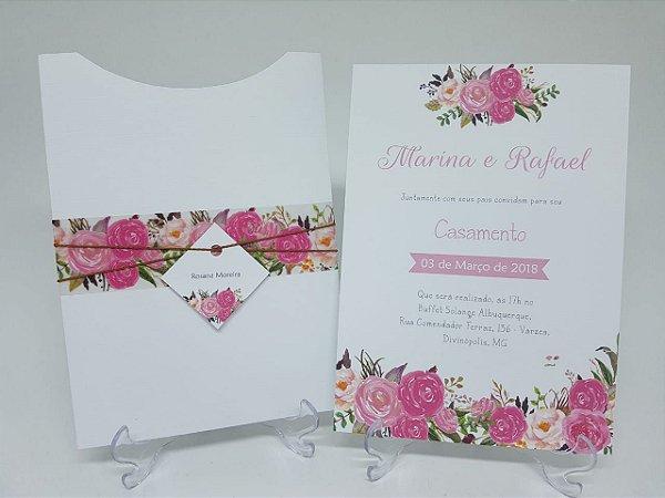 Convite floral rosa casamento