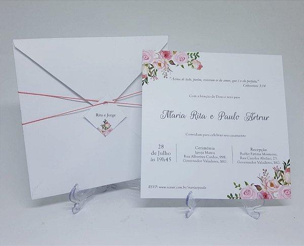 Convite casamento rosa floral