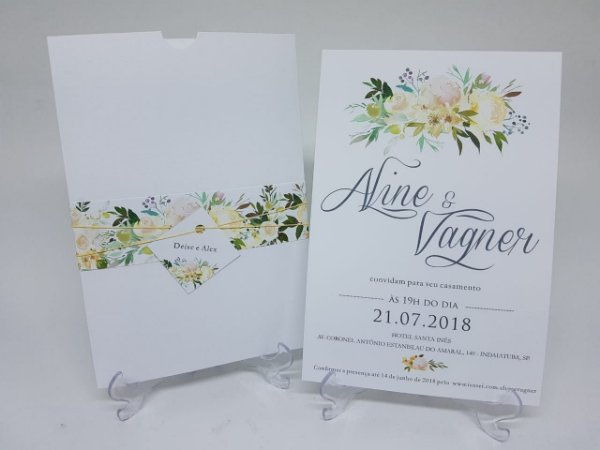 Convite floral envelope