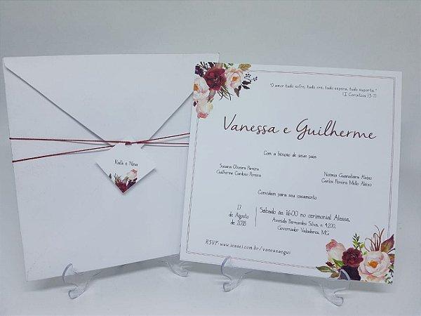 8b4c6c51b Convite casamento marsala envelope branco - Atelie da Lola ...