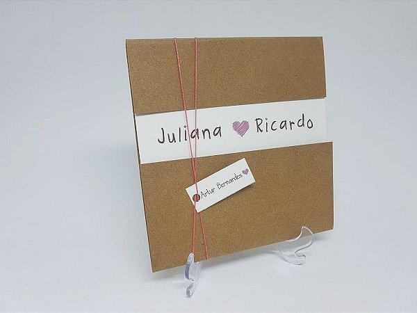 Convite casamento envelope rustico com abertura