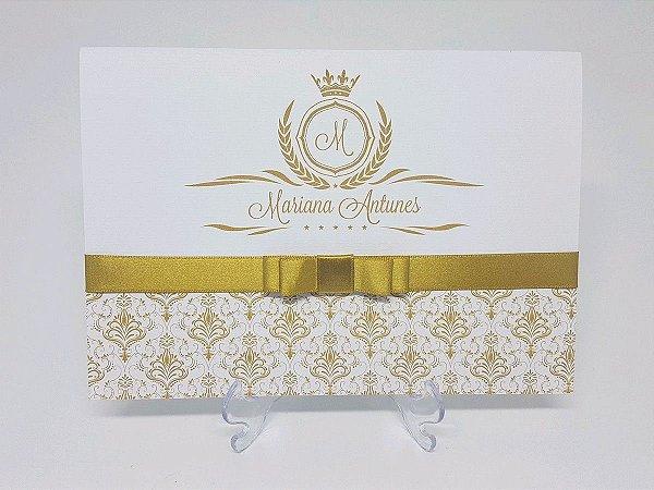 Convite dourado 15 anos
