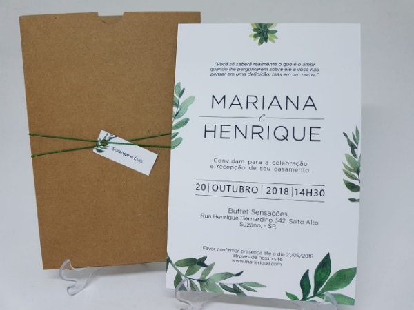 Convite folhas luva