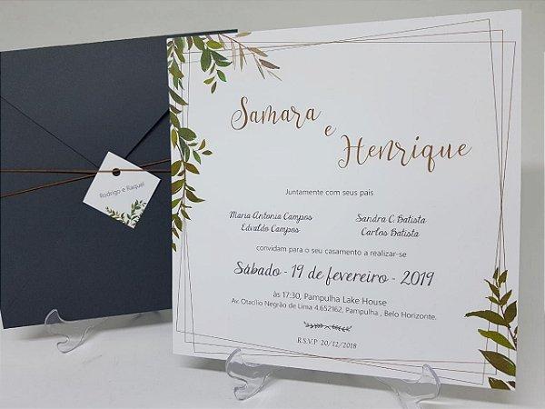 Convite de Casamento folhas