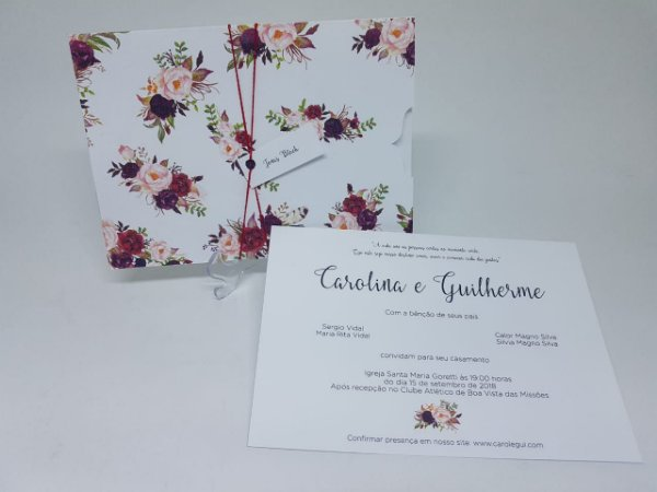 e22d096b7 Convite casamento envelope floral marsala - Atelie da Lola ...