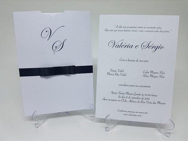 Convite classico preto e branco