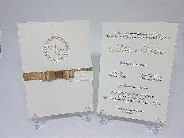Convite casamento dourado classico