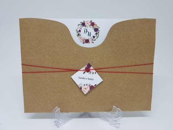 Convite casamento marsala rustico