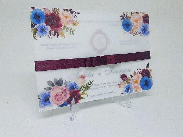 Convite casamento papel vegetal azul e marsala