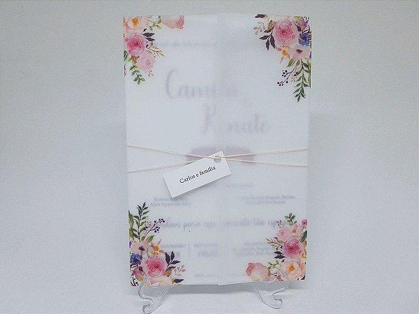 Convite em papel vegetal rosa casamento