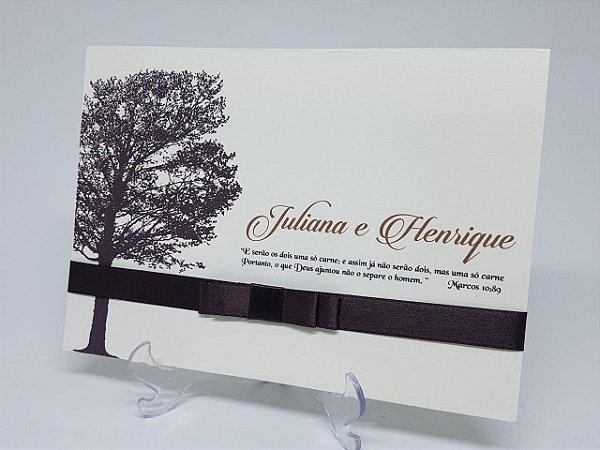 Convite casamento arvore rustica