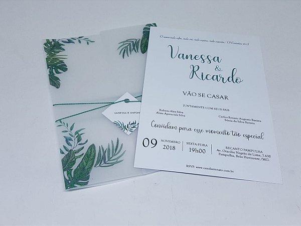Convite Casamento Folhas Em Papel Vegetal Atelie Da Lola