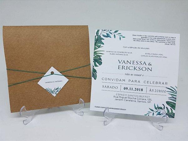 Convite folhagens - verde