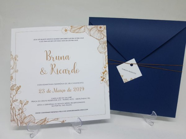 Convite azul e dourado