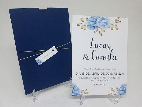Convite casamento azul marinhol