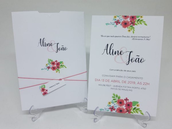 Convite casamento coral floral