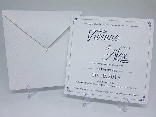 Convite casamento branco classico
