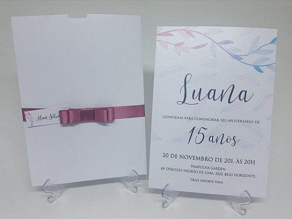 Convite debutante metalizado cetim rosê