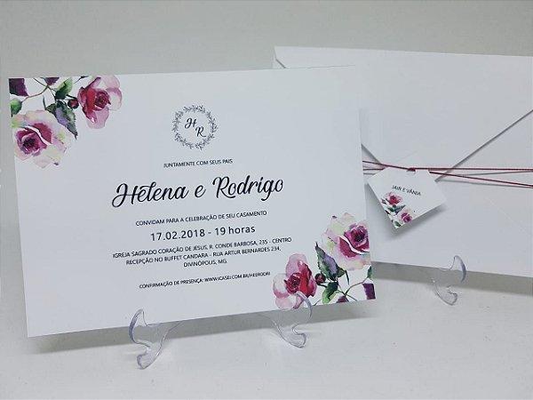 a8b1f3cac Floral - marsala - Atelie da Lola Conviteria - convites casamento ...