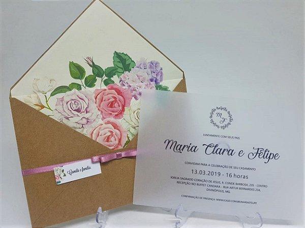 Convite casamento vegetal floral
