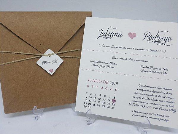 Convite rustico calendário