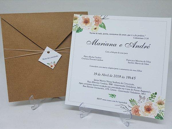 Convite floral creme floral