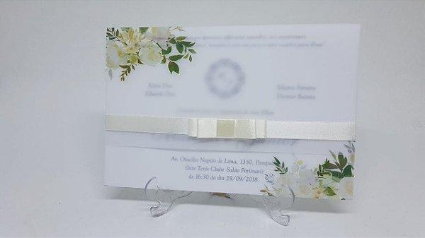 Convite flores papel vegetal