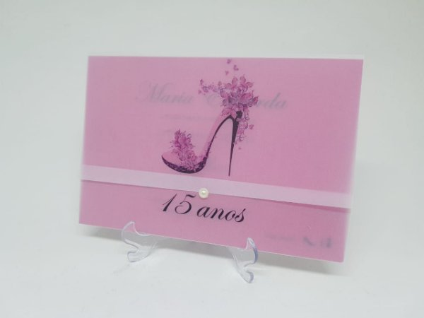 Convite pink sapato alto