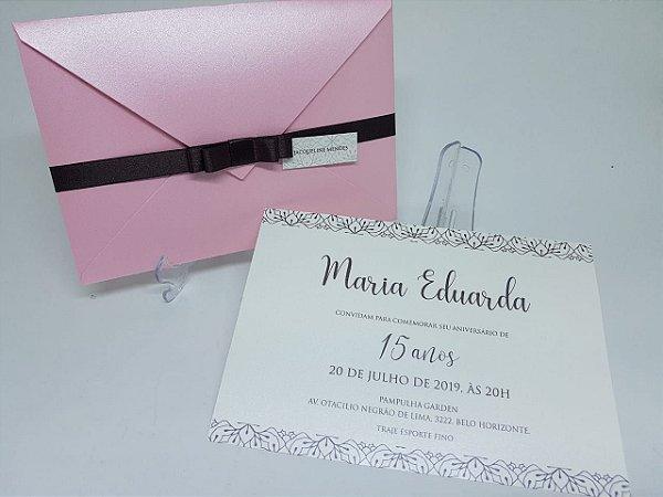 Convite 15 anos rosa e marrom perolado